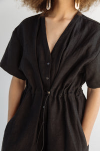 Cinched Jumpsuit in Black Linen