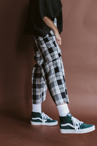 Easy Go-To Black Plaid Linen Pant