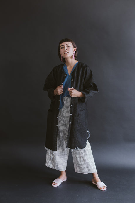 Super Wide Coat in Black Denim