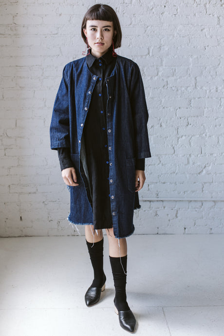 Super Wide Coat In Blue Denim