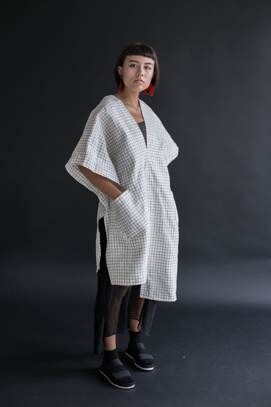 Asymmetric Tunic in Grid Linen