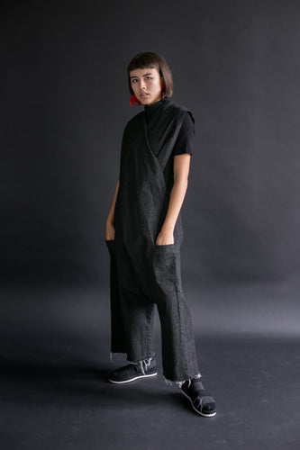 Criss Cross Overall in Black Denim