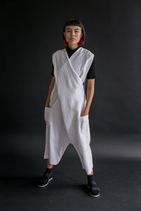 Criss Cross Overall in White Linen