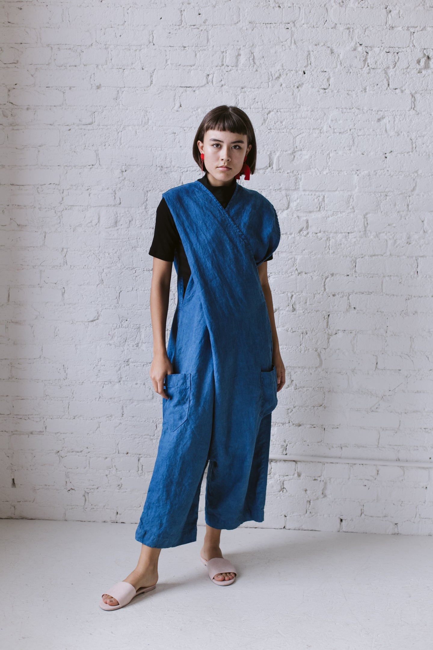 Criss Cross Overall in Indigo Linen