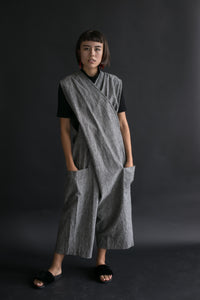 Criss Cross Overall in Grey Chambray