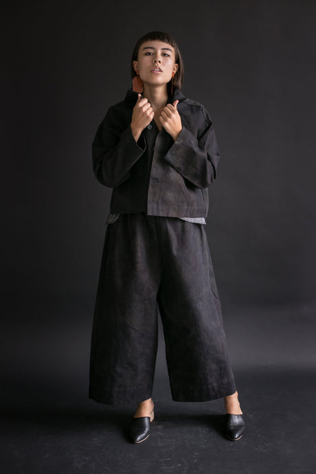 Cropped Chore Coat in Overdyed Black Camo Canvas
