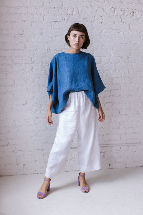 Super Wide Crop Top In Indigo Linen
