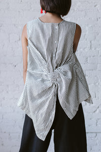 Knotted Back Top In Striped Linen
