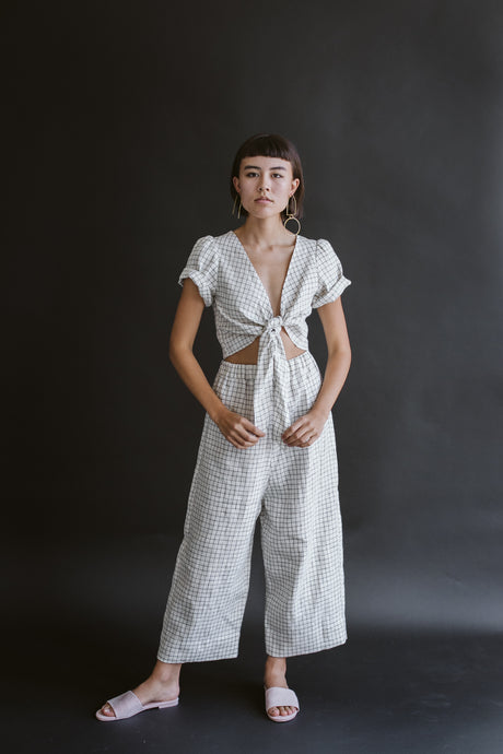 Tied Back to Front Top in Grid Linen