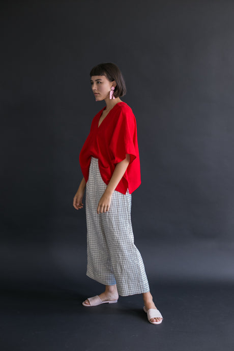 Perfect Square Top In Red Cotton Linen