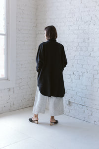 Super Wide Shirt Dress in White Linen