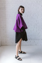 Super Wide Crop Top in Sheer Violet Linen