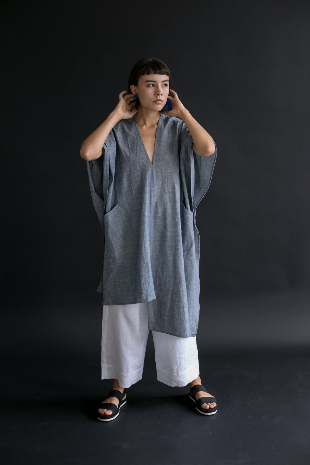 Asymmetric Tunic in Vintage Chambray