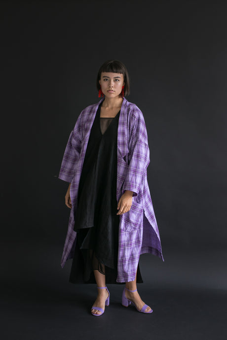 Oversized Trench in Violet Plaid