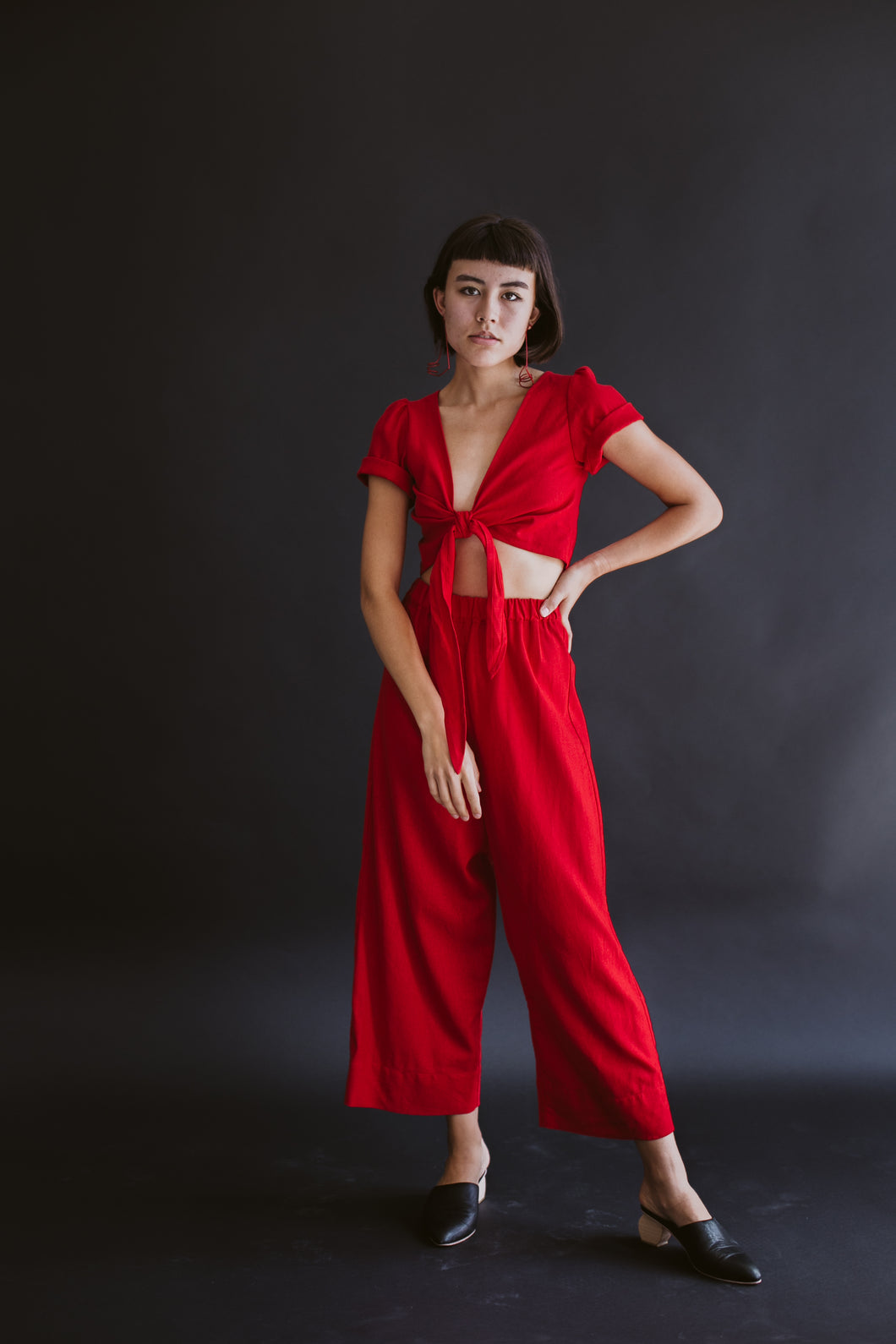 Tied Back to Front Top Red Cotton/Linen