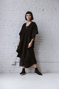 Asymmetric Tunic in Black Linen