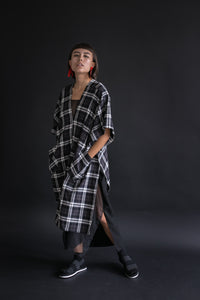 Asymmetric Tunic in Black/White Plaid