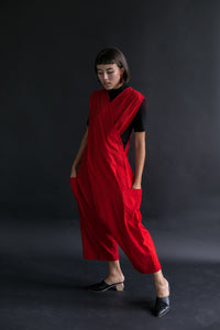 Criss Cross Overall in Red Linen Cotton