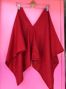 Perfect Square Top In Red Linen XL