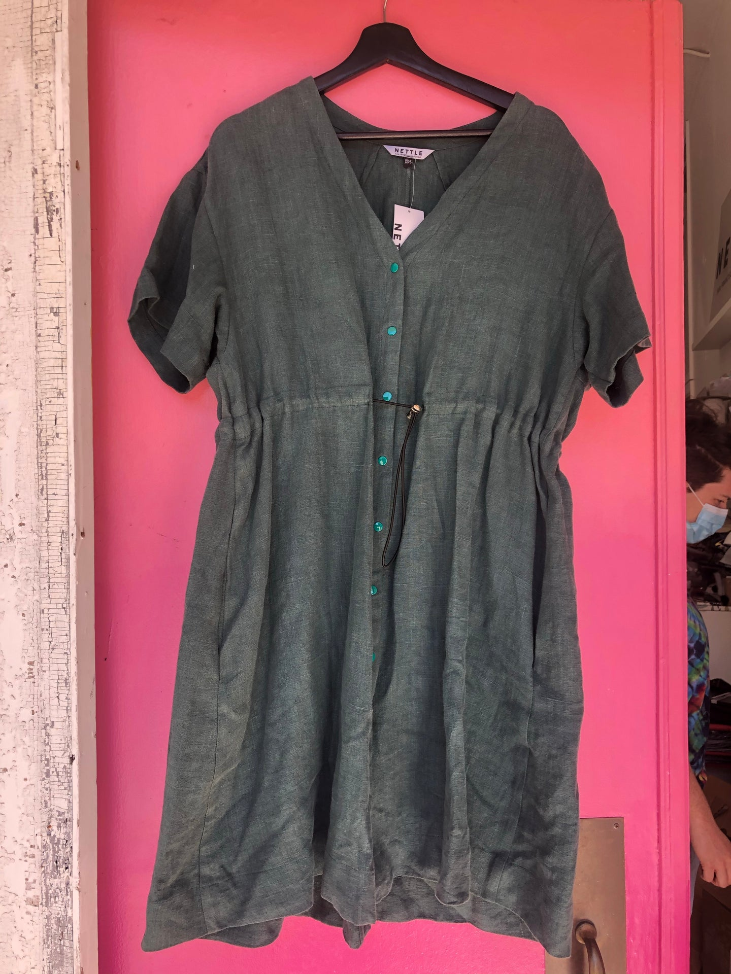 Cinched Dress in Green Linen XS/S