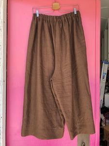 Easy Pant in Brown Linen XL