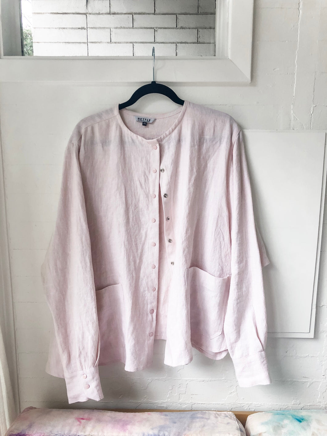 Light Pink Linen Snap Front Shirt