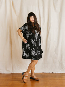 Trapeze Dress in Bamboo Printed Cotton/Linen