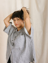 Boxy Collared Shirt in Printed Gingham Linen