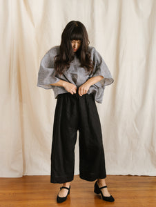 Mid Easy Pant in Black Linen