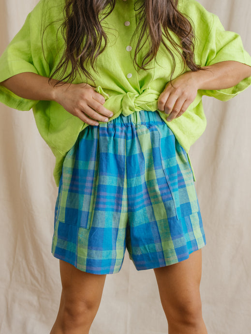 Easy Shorts in Blue Plaid