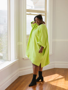 Super Wide Dress in Limeade Linen