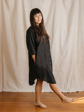 Boxy Collared Shirt Dress in Black Linen