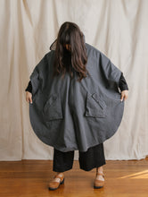 Cape in Grey Coated Nylon