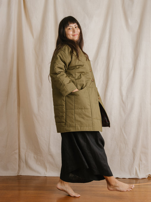 Quilted Coat in Olive Green Nylon