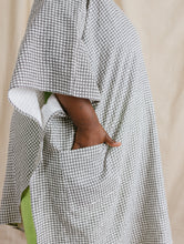 Asymmetric Tunic in Printed Gingham Linen