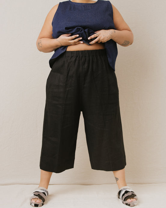 Easy Pant in Black Linen