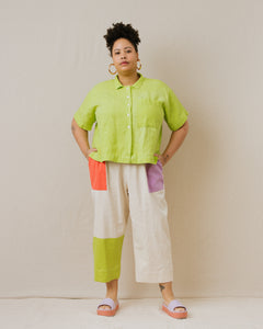 Boxy Collared Shirt in Limeade Linen