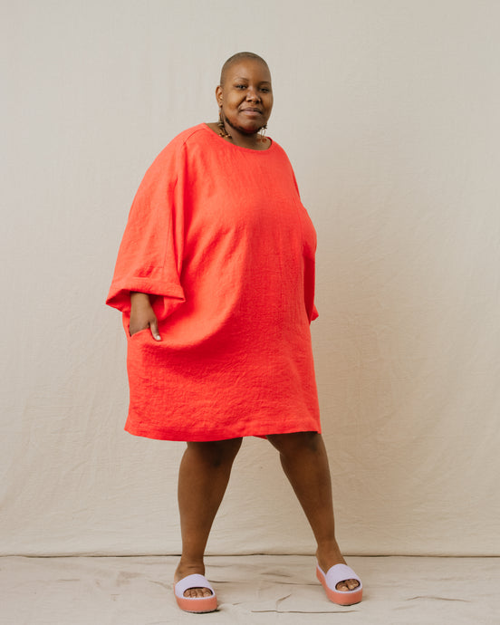 Super Wide Dress in Papaya Linen