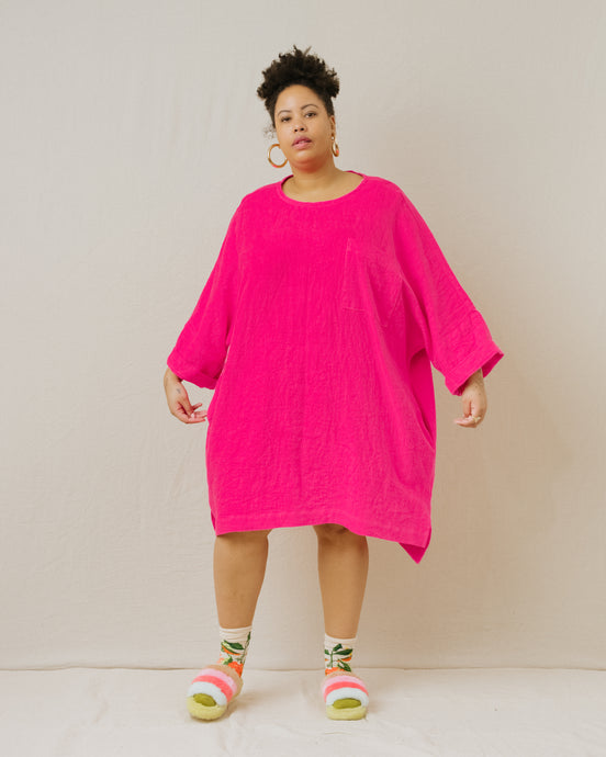 Super Wide Dress in Hot Pink Linen