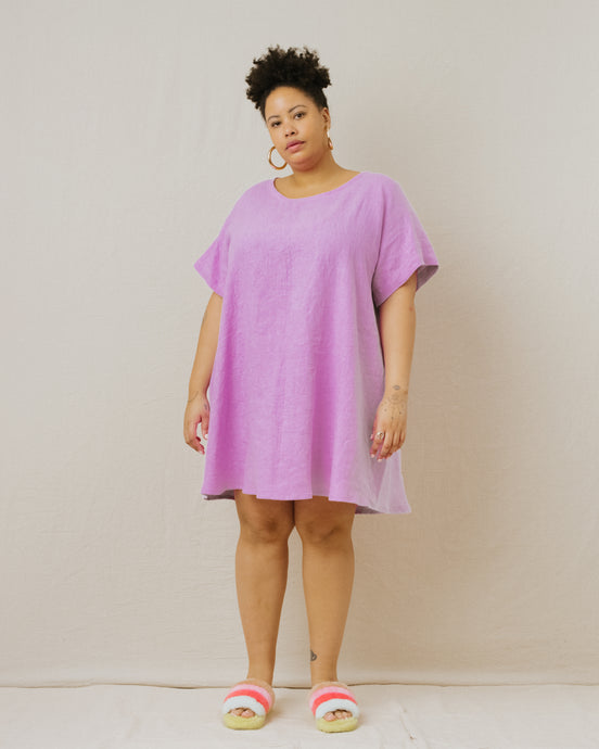 Trapeze Dress in Lilac Linen