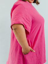 Trapeze Dress in Hot Pink Linen
