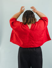 Perfect Square Top In Red Linen