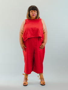 Easy Pant in Red Linen L