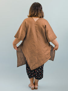 Asymmetric Tunic in Biscuit Linen