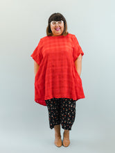 Trapeze Dress in Red Check Gauze