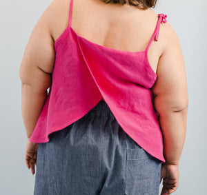Tie Tank in Hot Pink Linen