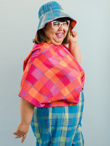 Sun Hat in Blue/Pink Plaid