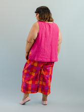 Side Panel Tank in Hot Pink Linen
