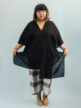 Asymmetric Tunic in Sheer Black