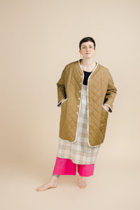 Quilted Coat in Caramel- OS PTP 25 1/2""